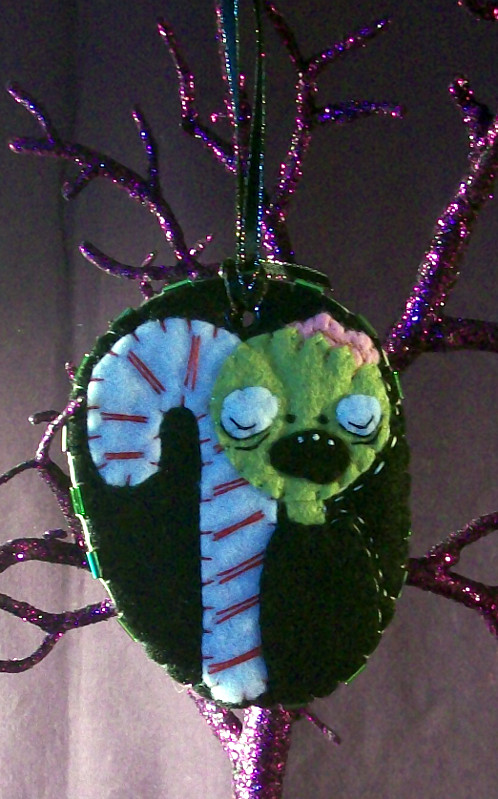zombie loves candy cane ornament